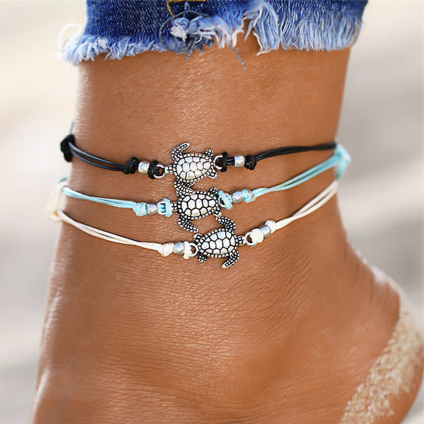 Cord ankle bracelets with turtle charms