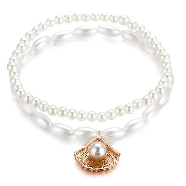 Pearl anklet set with gold seashell charm