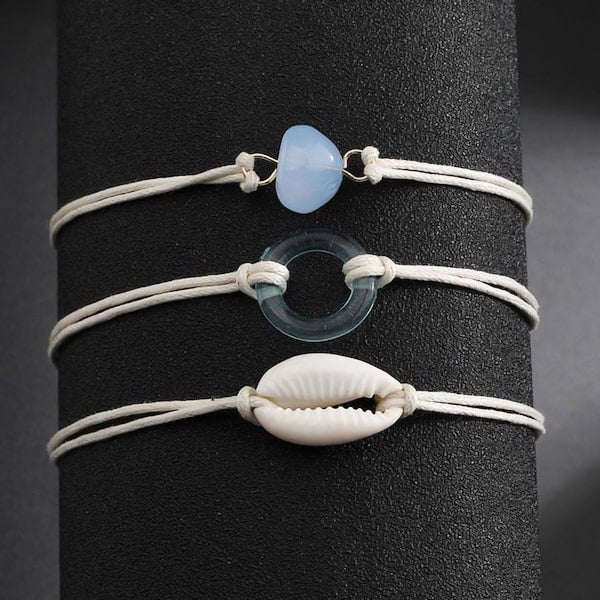 White blue seashell anklet set