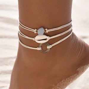 White seashell anklet set