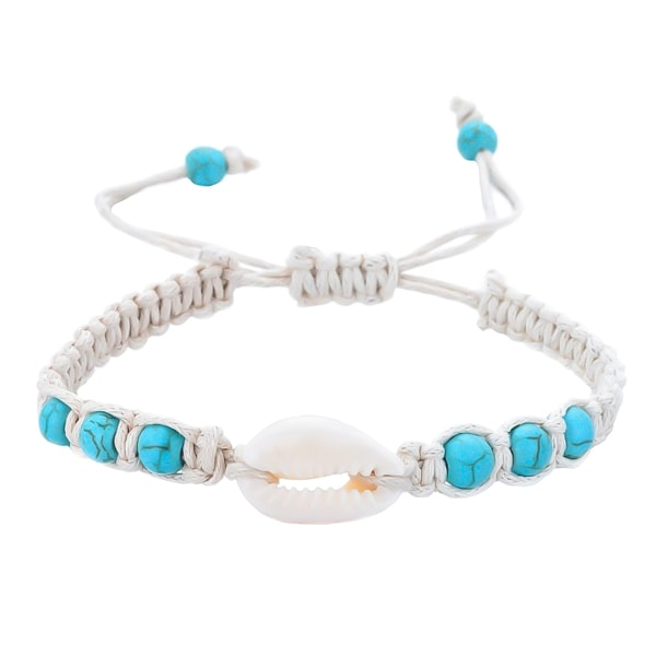White and turquoise cowrie shell bracelet