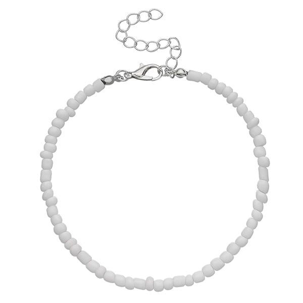 White handmade beaded anklet