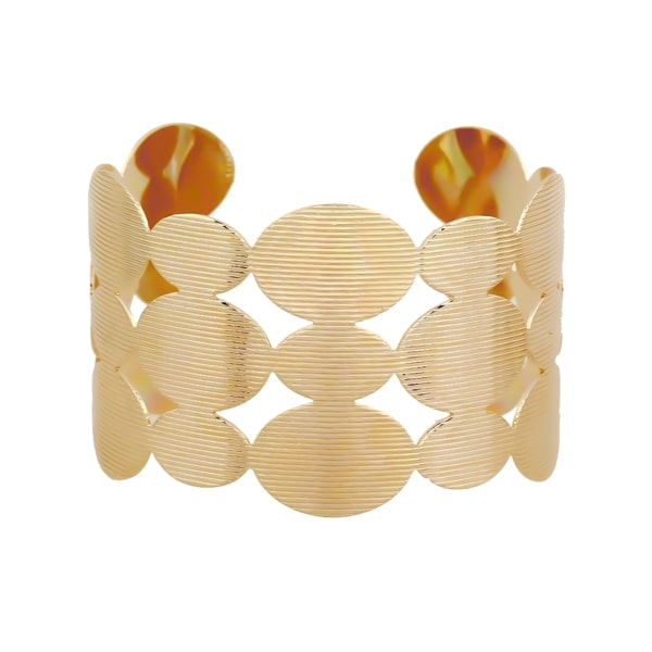 Wide gold geometric cuff bracelet