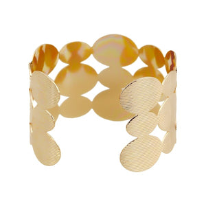 Gold geometric open cuff bracelet