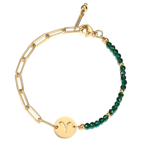 Green and gold zodiac sign bracelet