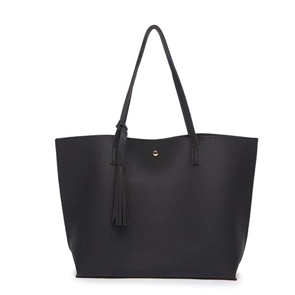 Classy Women Simple Black Tote Bag | Handbag - Classy Women Collection