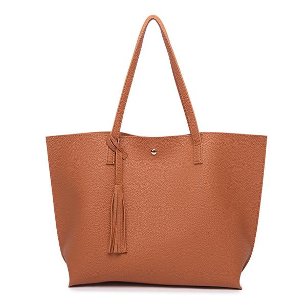 Classy Women Simple Brown Tote Bag | Handbag - Classy Women Collection