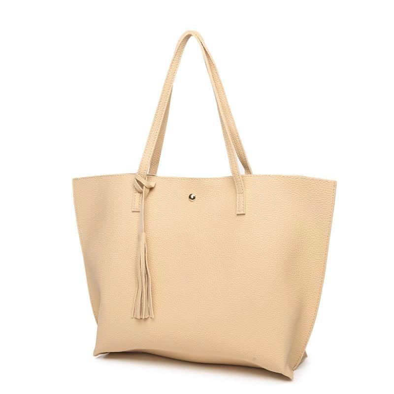 Classy Women Simple Beige Tote Bag | Handbag - Classy Women Collection