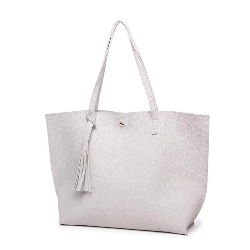Classy Women Simple Grey Tote Bag | Handbag - Classy Women Collection