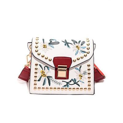 Classy Women White Flower Crossbody Bag | Handbag - Classy Women Collection