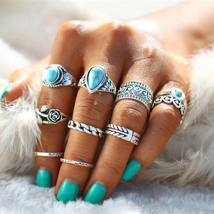 Classy Women Turquoise Ring Set (10 pieces) - Classy Women Collection
