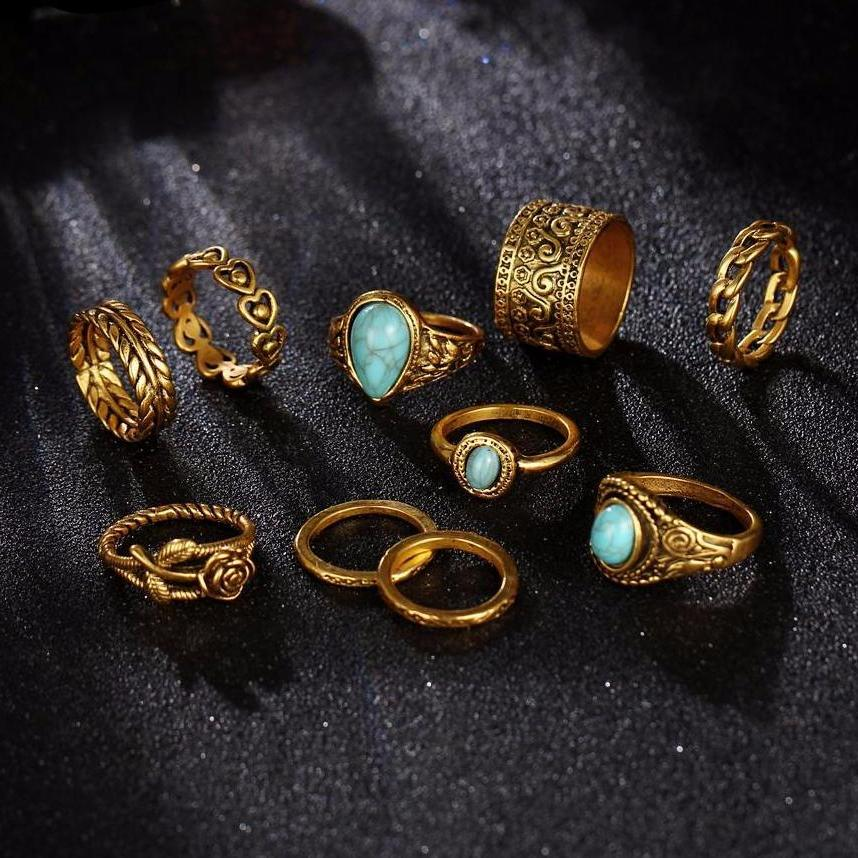 Classy Women Turquoise Ring Set (10 pieces) | Ring - Classy Women Collection
