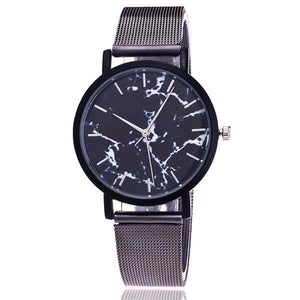 Classy Women Simple Marble Watch Black - Classy Women Collection