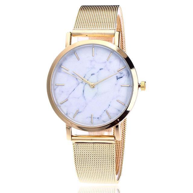 Classy Women Simple Marble Watch Gold - Classy Women Collection