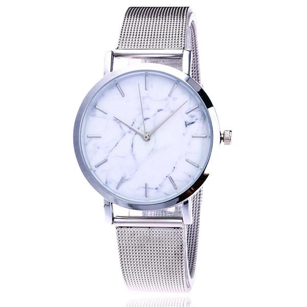 Classy Women Simple Marble Watch Silver - Classy Women Collection
