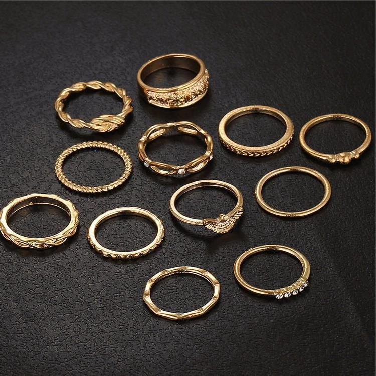 Classy Women Gold Ring Set (12 pieces) | Ring - Classy Women Collection