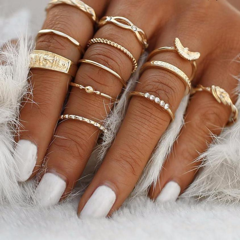 Classy Women Gold Ring Set (12 pieces) - Classy Women Collection