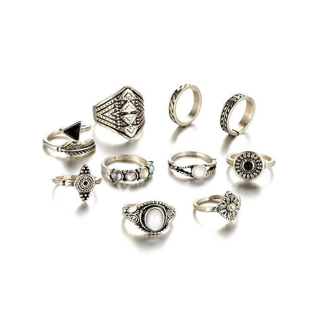 Classy Women Boho Ring Set (10 pieces) - Classy Women Collection