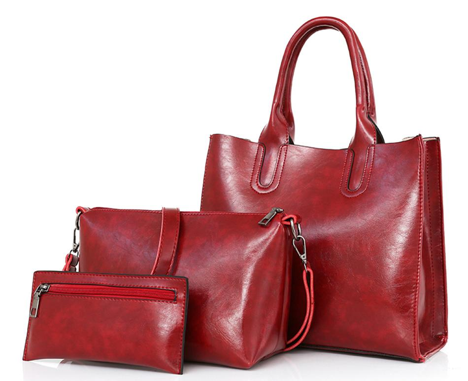 Classy Women Red Handbag Set - 3 Pieces | Handbag - Classy Women Collection