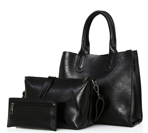 Classy Women Black Handbag Set - 3 Pieces | Handbag - Classy Women Collection
