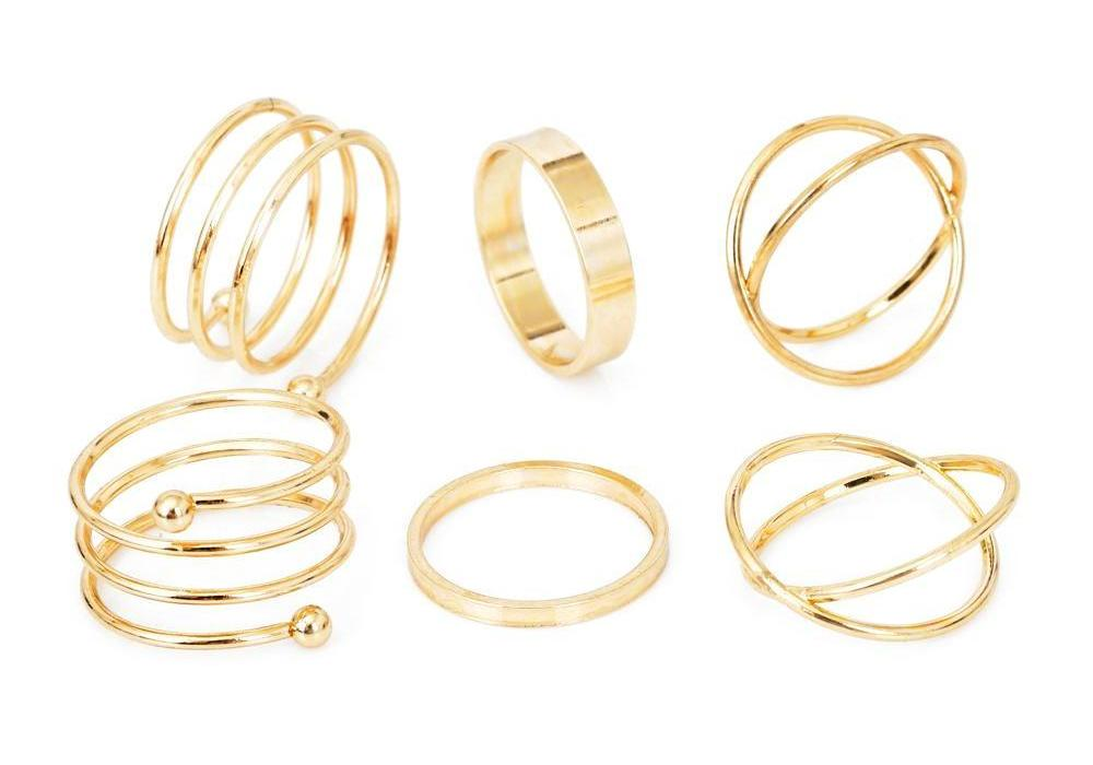 Classy Women Simple Ring Set (6 Pieces) - Classy Women Collection