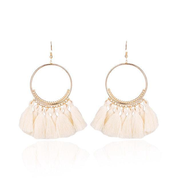 Classy Women Tassel Hoop Earrings - 10 Colors | Earrings - Classy Women Collection