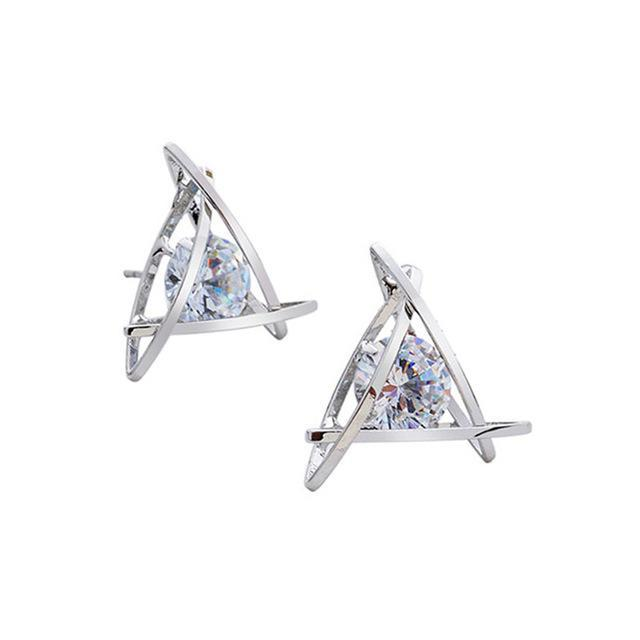 Classy Women Crystal Triangle Studs | Earrings - Classy Women Collection