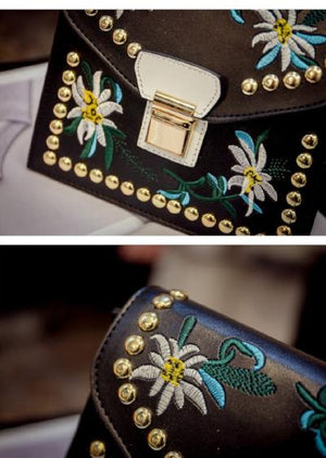 Classy Women Black Flower Crossbody Bag | Handbag - Classy Women Collection