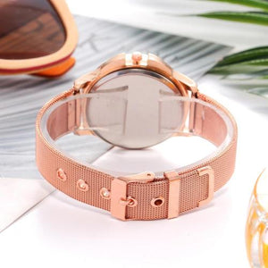 Classy Women Rose Gold Flower Watch