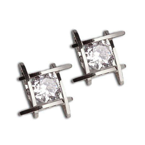 Classy Women Crystal Square Studs | Earrings - Classy Women Collection