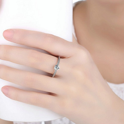 Classy Women Sterling Silver Heart Ring | 2 Colors | Ring - Classy Women Collection