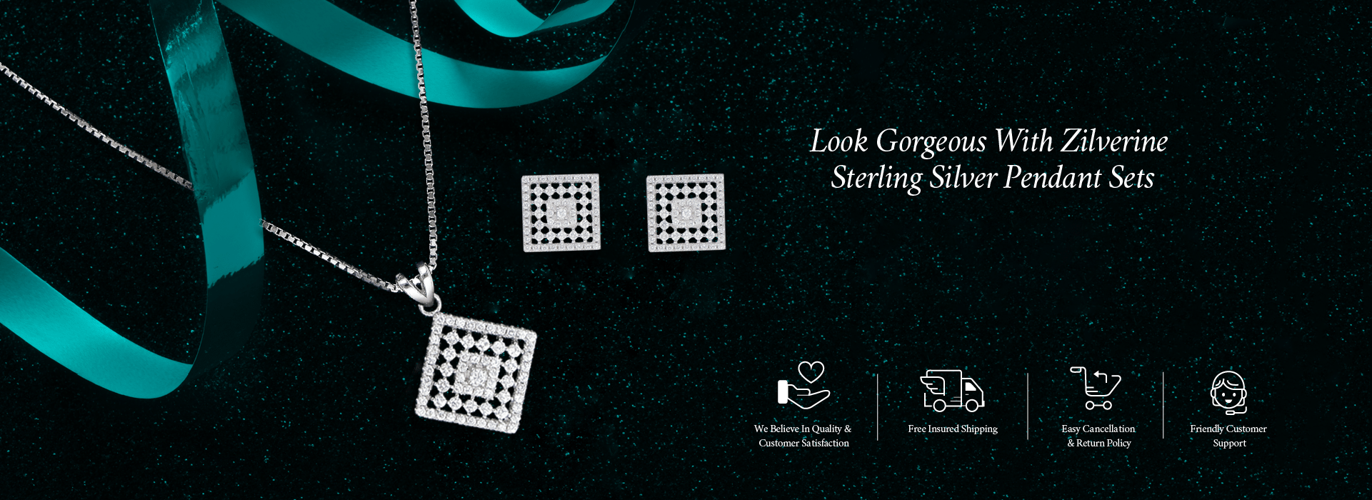 Look Gorgeous with Zilverine Sterling Silver Pendant Sets.