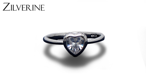 Classic Heart-Shaped Silver Ring