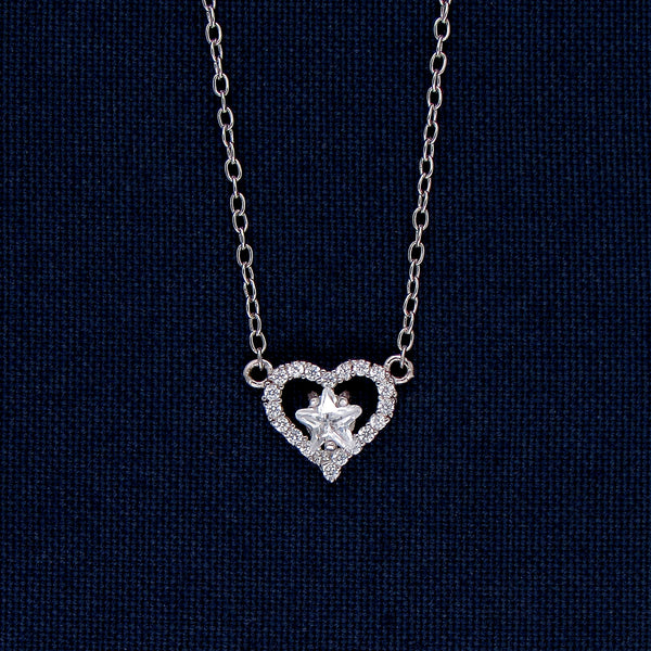 Heart and Star Design Silver Pendant