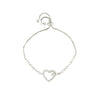 Gem-Studded Heart Charm in a Silver Chain Bracelet