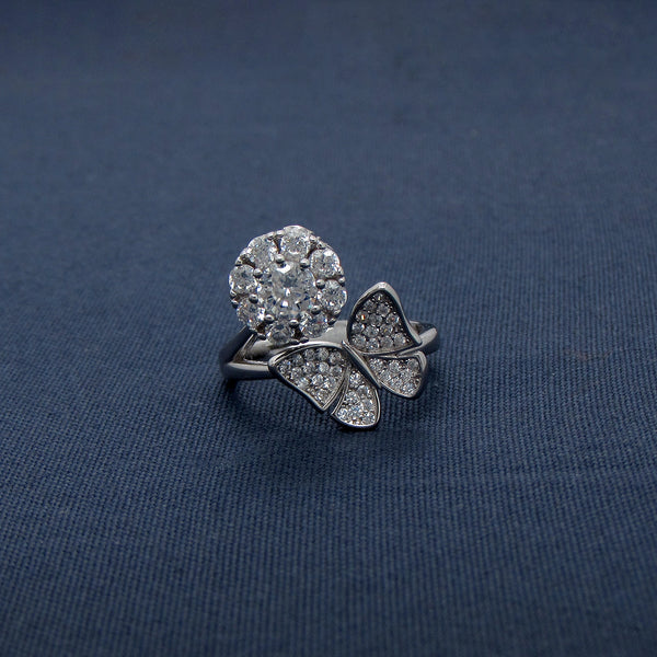 Sparkling Silver Flower With A Butterfly Ring