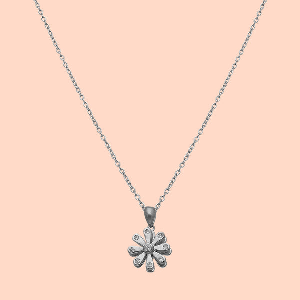 Eight Petals Of Grace Silver Pendant Chain