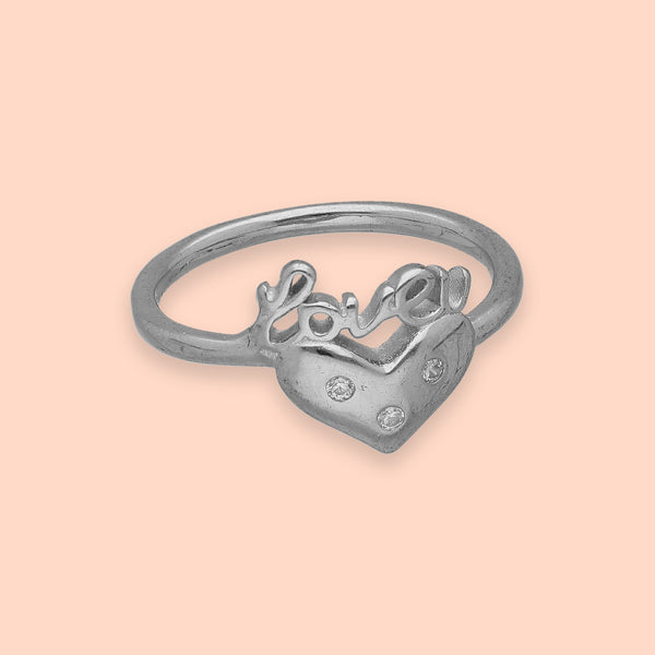 Silver Love and Heart Ring