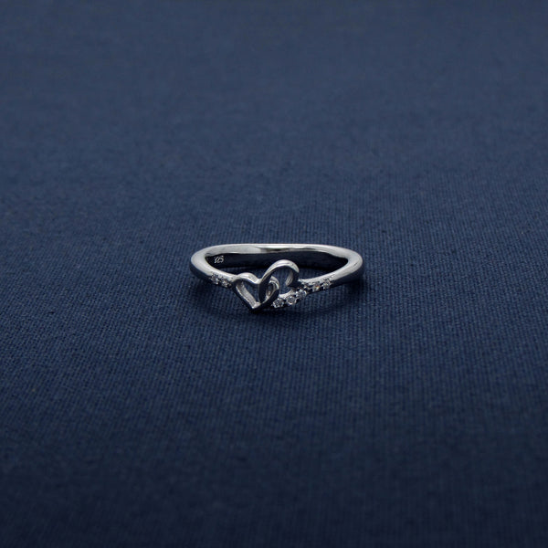 Two Interconnected Heart Silver CZ Ring