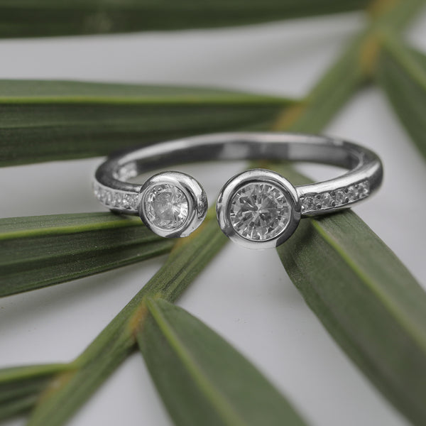 Delight  -  Open Two Stones Ring