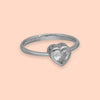 Classic Sparkling Heart Shaped Silver Ring