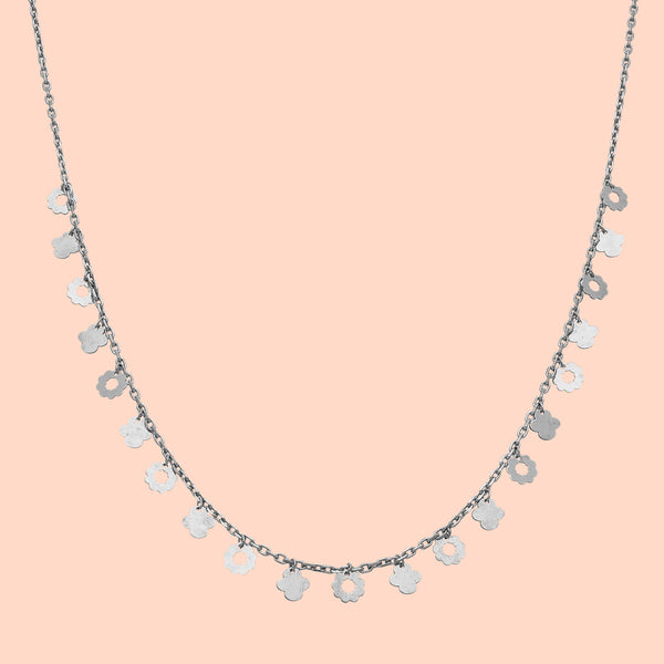 Dangling Florid Sterling Silver Necklace