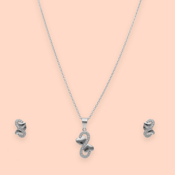 Heart Infinity Sterling Silver Pendant Set