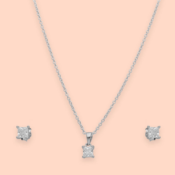 Sterling Silver Square Pendant Set