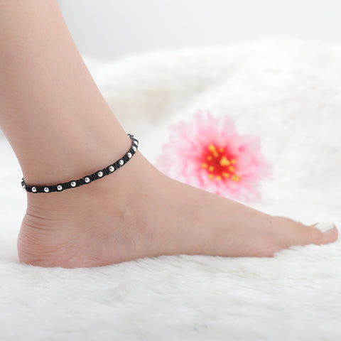 Silver Knitted Anklet