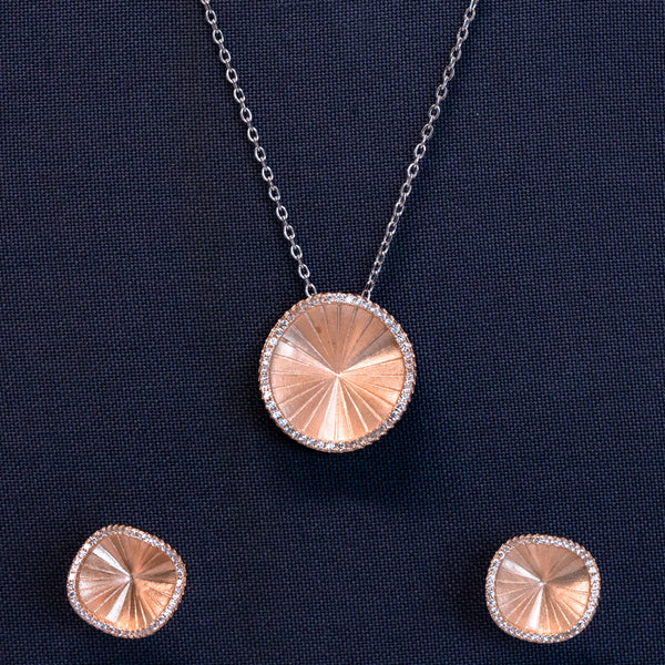Zilverine Rose Gold Prime Elements Pendant and Earrings