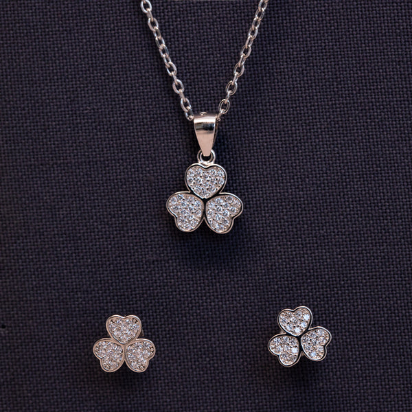 Irish Shamrock Pendant and Studs