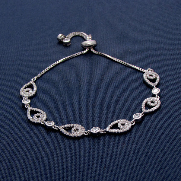 Dangling Silver Bracelet with Tear-Shaped Ornaments