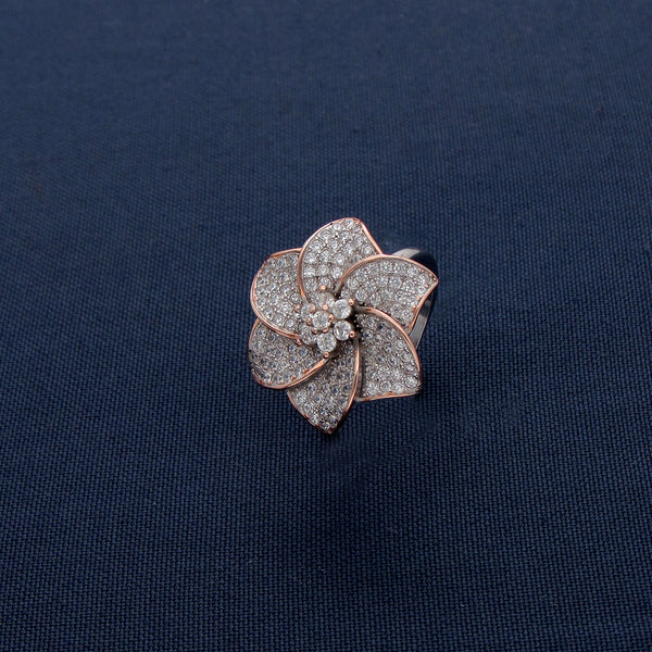 Interconnected Six Petals Flora Silver Ring