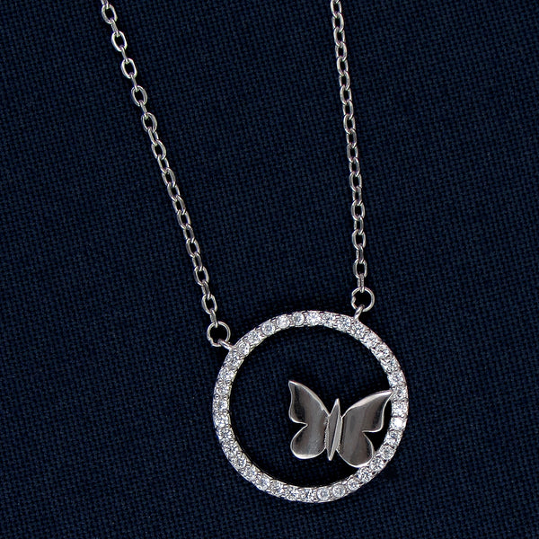 Silver Butterfly Round a Ring Pendant